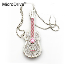 Beautiful Diamond Guitar with Necklace USB Flash Drive disk 64GB 32GB 16GB 8GB 4GB crystal metal Guitar memory sticks disk pen