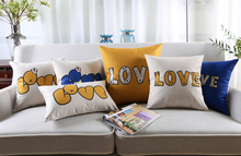 Free shipping novelty wedding gift simple cute font LOVE word pattern linen cushion cover home car decorative pillow case(China)