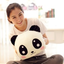 cartoon Smile panda plush toys winter hand warm Expression panda animals stuffed plush kids toys Grownups pillow cushion(China)