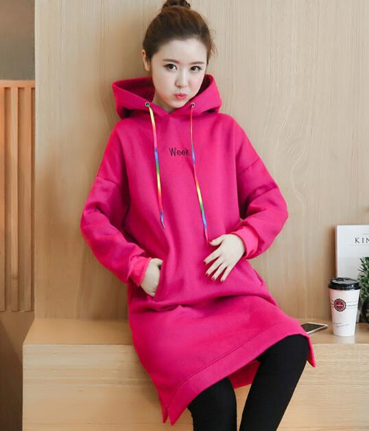 Maternity wear new maternity sweater embroidery plus cashmere thickened jacket long section<br>