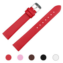 Wavors 16mm Women Men PU Leather Watch Strap Band WristWatch Replacemen Accessory Black/White/Brown/Pink/Red