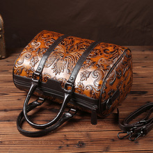 2017 vintage genuine leather hand brush women's Boston bag personalized decorative cowhide women's handbag genuine leather