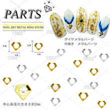 100pcs/lot japanese 3d jewelry design Nail Art metal ring studs Decoration(China)