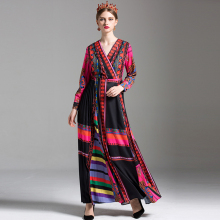 High Street Long Dresses New Summer 2017 Full Sleeve Multicolor Patchwork Print Fashion V-neck Vintage Classic Women Dress