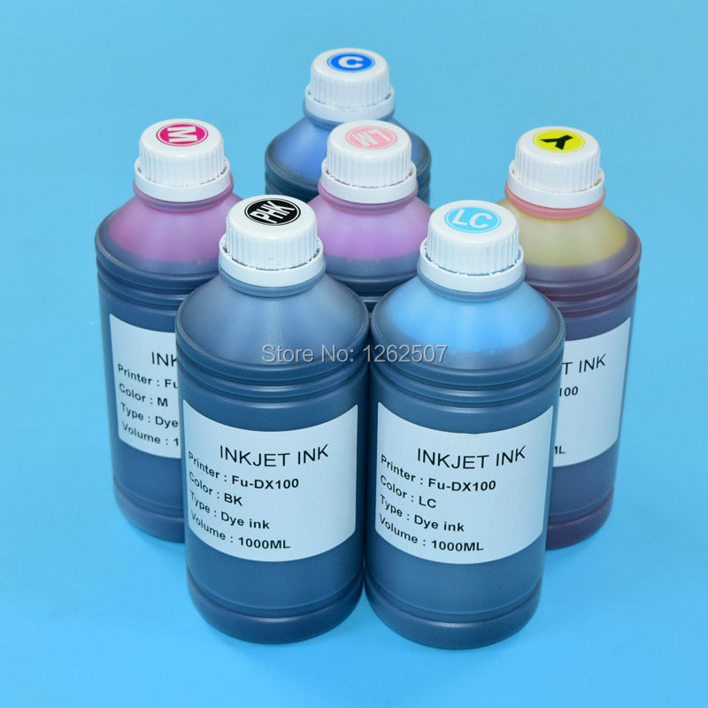 For Fujifilm DX100 Water based UV Dye ink For Fuji DX100 Printer bulk ink 1000ml/color 6colors High quality<br><br>Aliexpress