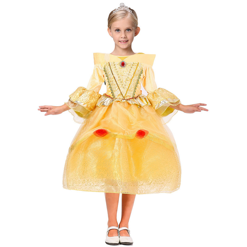 2016 New Elsa Summer Golden Princess Queen Dress For Girls Anna Dress Girls Halloween Snow Queen Party Gold Dresses Princess 60<br><br>Aliexpress