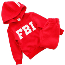 2016 Autumn Children's clothing sets boys girls FBI cartoon cool sports wear leisure trackuits outdoor Winter Plus velvet suits