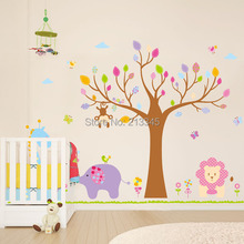 [Fundecor] DIY large wall stickers home decor cartoon animal tree kids bed room decoration wall decals quotes 5383