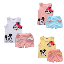 Multi-colored Girls Summer Sleeveless Outfits  Baby Girl Minnie Mouse Vest Top+Bowtie Shorts Pants Set Clothes Kids Outfit 1-5T