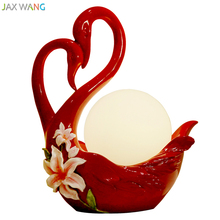 Modern Creative Red Swan Table Lamp Glass Ball Lampshade Ligths for Wedding Room Bedside Lamp Valentine's Day Gift Home Lighting(China)