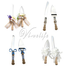 2pcs/set  Top Quality  Beautiful Romantic Burlap Rustic Wedding Cake Knife Stainless Steel Jute Gift box