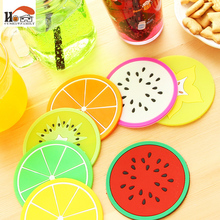 Fruit style Durable Silicone Round Heat Resistant Mat Coaster Cushion Placemat Pot Holder Coffee Table Cup Mats Pad Kitchen Tool(China)
