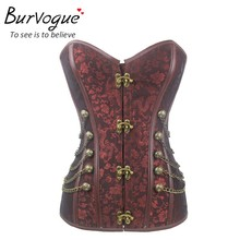Burvogue Steampunk Corset Waist Control Sexy Corsets and Bustie Steel Bone Corset Top Overbust Gothic Bustier Corselet Plus Size(China)