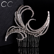 Luxurious Exaggerated Personality Geometry Bridal Combs for Women Wedding Party Top Austrian Crystal Fashion Jewelry Bijoux A002