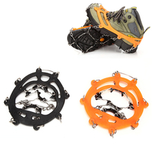 1Pair 8 Teeth Claws Ice Crampons Manganese Steel Ice Gripper Ski Snow Cleats Hiking Climbing Non-slip Shoes Chain Cover