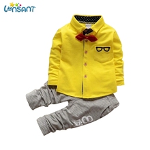 LONSANT 2017 Children Clothing Sets Spring Autumn Baby Boys Clothes Bow Tie Glasses Long Sleeve Shirt Pants Dropshipping JUL04