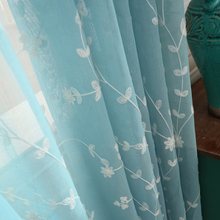 1piece Readymade 3D embroidered sheer curtains, #LR-Chunmeng garden style gauze volie blinds tulle for living room