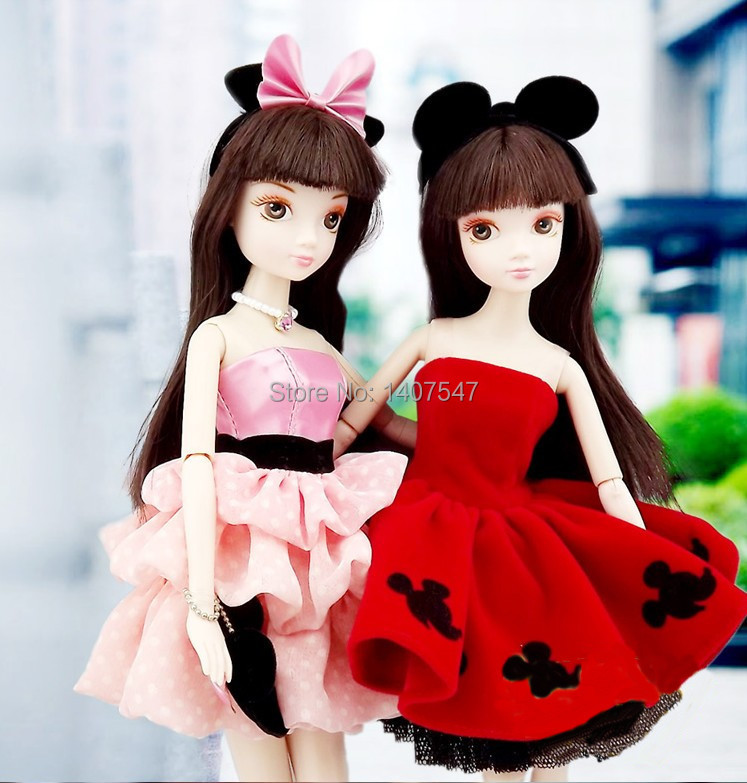 29CM new Style girl Dolls With 1 set Pink Dress, jointed doll Body Model Gift Toy brinquedos<br><br>Aliexpress