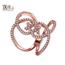 TANGKA unique design double love shape shop small zircon ring charming female party fine titanium steel ring jewelry