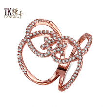 TANGKA unique design double love shape shop small zircon ring charming female party fine titanium steel ring jewelry(China)