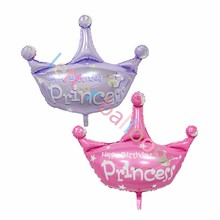 50pcs Big size 103*93cm double side princess crown balloons baby girl happy birthday baby shower party decor Inflatable Air ball(China)