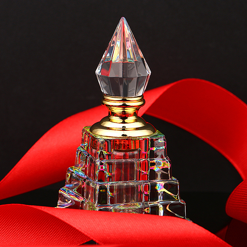 3ML Clear Vintage Pyramid Aurora Borealis K9 Crystal Refillable Woman Perfume Bottle Empty Container w/gold Trim Glass Dauber<br><br>Aliexpress