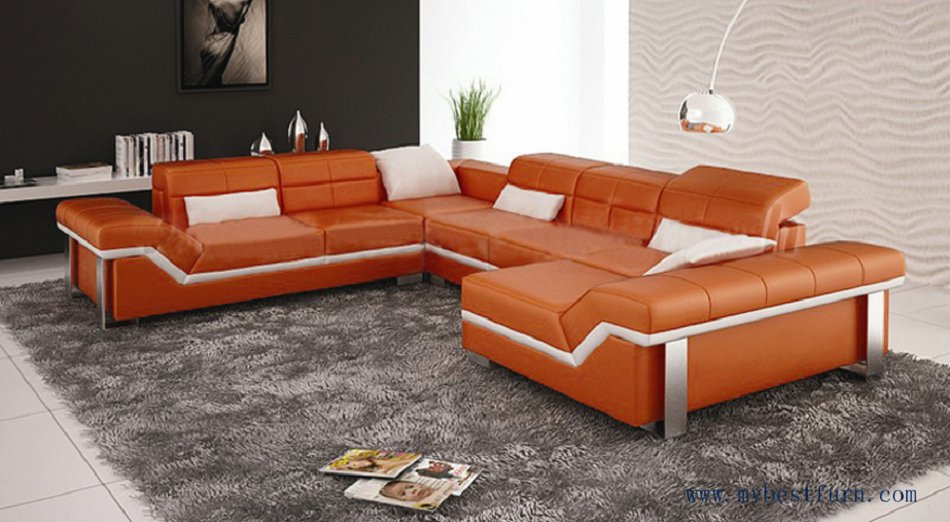 Free Shipping Modern Design Best Living Room Furniture Leather Sofa Set Orange Color Customized Couch S8712