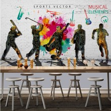 photo wallpaper Fashion retro graffiti sports music themed restaurant background wall decoration painting mural wallpaper