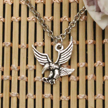 new fashion eagle hawk Pendants round cross chain short long Mens Womens DIY silver necklace Jewelry Gift(China)
