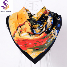 Spring Autumn Black Silk Scarf Shawl 2017 New Brand Women Twill Large Square Scarves Wraps House Pattern Muslim Head Scarf Cape