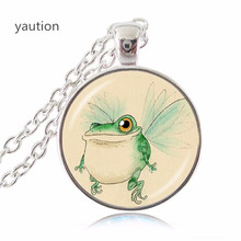 Handcrafted Fine Jewelry,Alice in Wonderland Jewelry,Photo Caterpillar with a Hookah and Alice Glass Pendant Necklace(China)