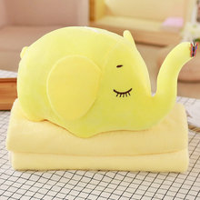 Cute elephant plusgh toys Children Room Decoration Kids Christmas Gift Pillow+Blanket Elephant Plush Toy 2 in 1 Animal