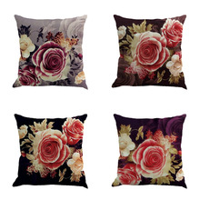 Square Linen Pillow Cover Retro Plants With Large Flowers Pattern Cushion Cover Home Decorative Cheap Pillow Case Home Supplies