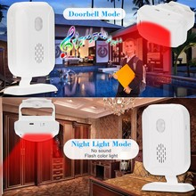 Wireless Split Welcome Guest Doorbell Motion Detection PIR Sensor Alarm System with Receiver Transmitter for Home OfficeSecurity
