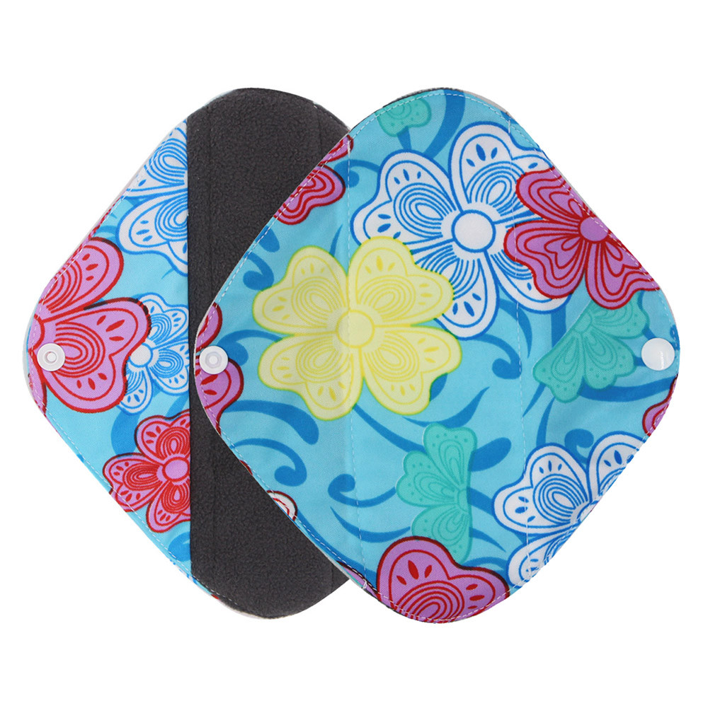 New Reusable Bamboo Charocoal Washable Menstrual Pad Mama Sanitary Towel Pad Practical Feminine Hygiene Product 1pc Pretty 17