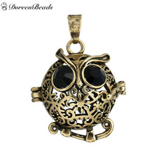 DoreenBeads Copper Wish Box Pendants Halloween Owl Hollow Black Rhinestone Can Open (Fit Bead Size: 16mm), 1 PC