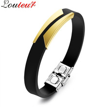 Louleur 2017 Fashion Black Silicone Bracelet for Men Punk Gold/Silver Color Stainless Steel Rubber Bracelet Wristband Pulseras