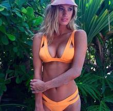 Neon Bright Orange Bikini Set Swimsuit 2017 New High Cut Brazilian Bandage Swimsuit Sexy Hollow Out Swimwear