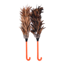 New Anti-static Feather Fur Brush Duster Dust Cleaning Tool Plastic Hooked Handle 45cm(China)