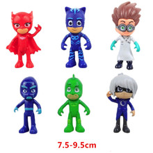 6Pcs/Lot Pj Cartoon Mask Characters Catboy Owlette Gekko Cloak Action Figure Toys Boy Birthday Gift Plastic Dolls