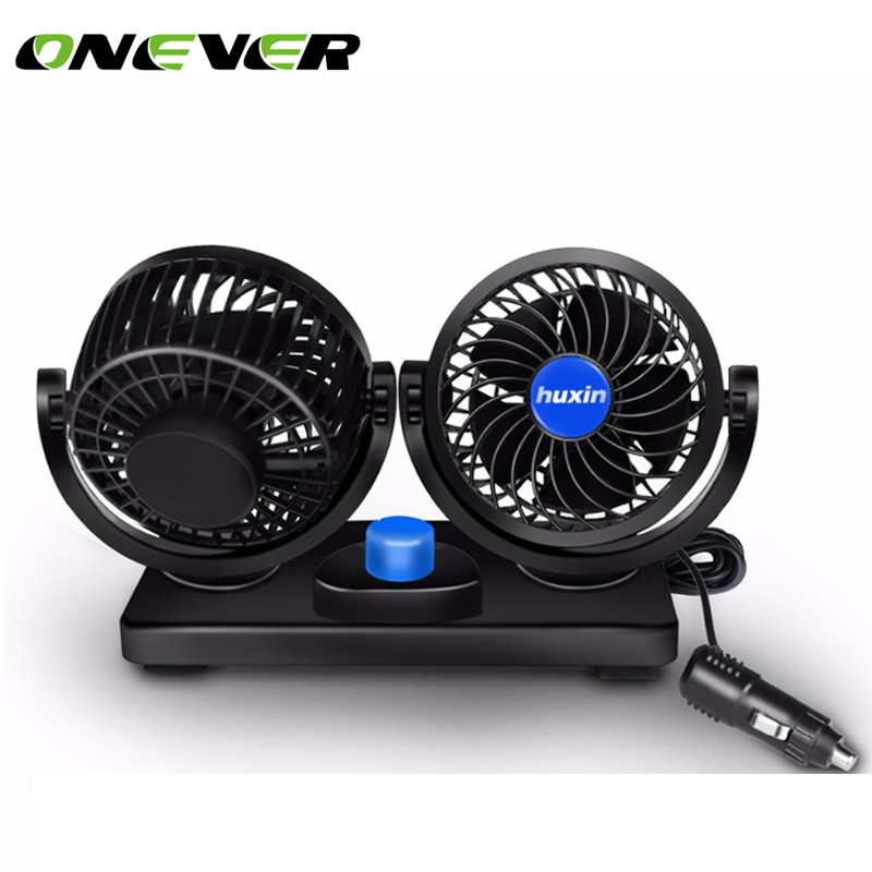 Onever Mini 12V 360 Degree Car Fan Car Air Conditioner Rotating 2 Gears Adjustable Car Fan Air Cooling Fan Back Seat Boat Baby(China)