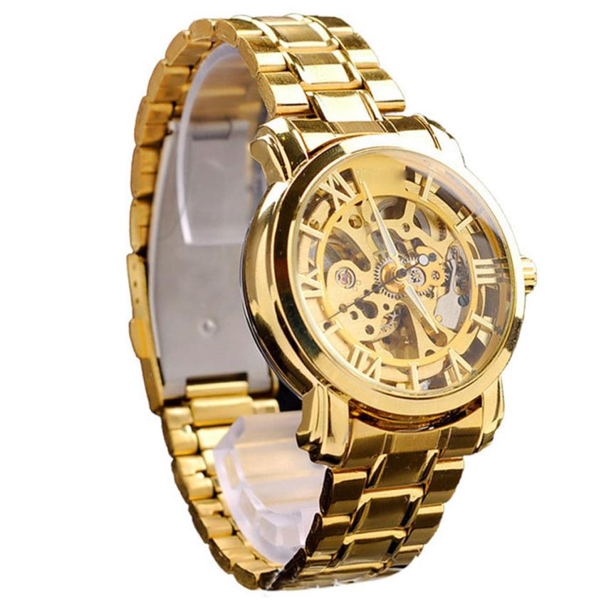 Hot Unique Classic Mens Watches Gold Dial Mechanical Automatic Self-Winding Hollow Watch Drop Shipping F20<br><br>Aliexpress