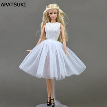 White Doll Accessories Cute Dancing Costume Ballet Dress Lace Skirt Dress Clothes For Barbie Doll Girls Love Christmas Gift Toy(China)