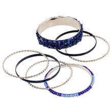 KUNIU Hot Sale 1Set Bangle Fashion Big Bracelet Rhinestone Decoration Black Blue Coffee Color Jewelry Gift For Women Female