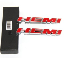 2pcs/lot Metal Auto Car Red HEMI Rear Emblem Badge Decal Sticker for Challenger Charger Chrvy