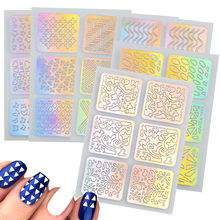 6 Sheets 24 Different Hollow Irregular Stencils Nail Vinyls Laser 3D Image Transfer Guide Template Nail Art Hollow Sticker CH214(China)