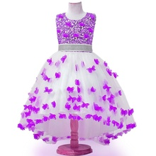 Princess Dress 12Y Kids Evening Gowns 2017 New Purple Flower Girl Dresses For Weddings Lace Aqqliques Child Party Dress Organza(China)