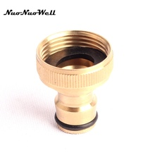 "2pcs NuoNuoWell 3/4"" Thread Quick Connector 100% Brass Tap Connector for Garden Irrigation Watering Hose Pipe Fitting Adapter"