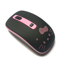 Cute Black Hello Kitty Silent Wireless Mouse Cute KT Computer Mice 2.4GHz 1200DPI Optical Gaming Mouse For PC Laptop