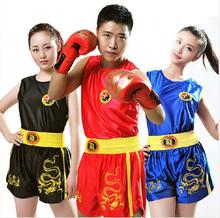 Dragon Kids Children/Women/Mens Boxing Shorts+Tank Tops  Wushu Sanda/Muay Thai/Boxeo/MMA/Taekwondo Uniforms Boys Girls DPCO